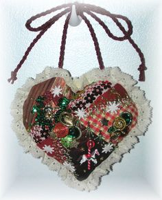Embroidered Heart Ornament Crazy Quilt Carousel ♥ by Kittyandme, $29.00