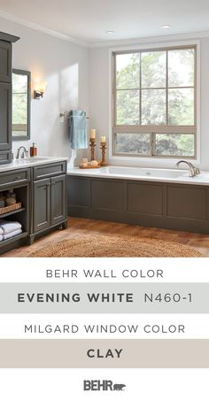 A neutral color palette and classic home decor accents create a tranquil style in this master bathroom. And it all starts with Behr Paint in Evening White paired with these Hermosa® Series Picture and Slider Vinyl windows, by Milgard, in Clay. Click below for full paint color details to learn more.