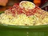 Grandma Jean's Potato Salad  Main ingredients: Red potatoes, celery, onion, eggs, sweet pickle relish, salad dressing, yellow mustard