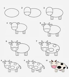 Do you want to show your kid how to draw a cow in some easy steps? If yes, here are two easy tutorials to draw a cow step by step for kids! drawing for kids 2 Easy Tutorials On How To Draw A Cow For Kids Easy Pencil Drawings, Cow Drawing Easy, Easy Animal Drawings, Easy Drawing Steps, Cartoon Drawings Of Animals, Easy Drawings For Kids, Step By Step Drawing, Drawing Base, Drawing Animals