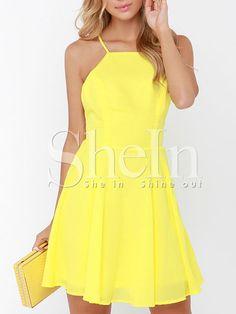 Yellow Spaghetti Strap Backless Dress -SheIn(Sheinside) Mobile Site