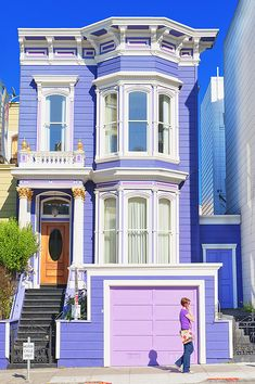 Painted Victorian House, San Francisco. so bright with its pretty purple and pink, and the white trim all sharp!