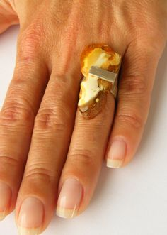 FREE Shipping Amber Ring GOLD Silver 925 NEW by JewellryWithSoul