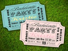 Vintage Retro Fun Carnival Circus Ticket - Bridal Shower / Lingerie Party / Baby Shower / Birthday / Party Invitation Card - DIY Printable. $10.00, via Etsy.
