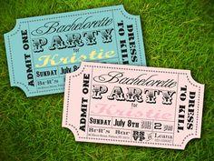 Vintage Retro Fun Carnival Circus Ticket - Bridal Shower / Lingerie Party / Baby Shower / Birthday / Party Invitation Card - DIY Printable. $10.00, via Etsy.