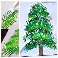 Fork painted Christmas tree - winter arts and crafts projects for kids. Stamp and paint with a fork.