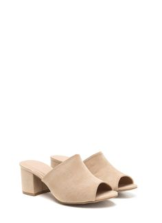 Low And Behold Chunky Peep-Toe Mules NATURAL $22