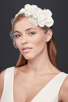 Wedding Hair Down Chic and on-trend, you\'ll make a bold statement as you walk down the aisle in this beaded floral rustic headband blusher! Russian tulle headband blusher is adorned with beautiful, asymmetric fabric Tulle Headband, Floral Headbands, Wedding Hairstyles With Veil, Loose Hairstyles, Hairstyles Pictures, Bridal Hairstyles, Davids Bridal, Bridal Braids, Wedding Hats