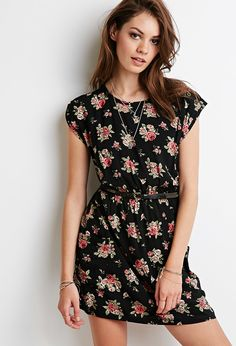 FOREVER 21 Belted Rose Babydoll Dress | Lydia Martin Style Guide