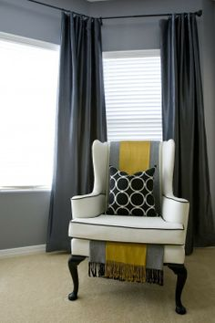 so cool with the scarf draped over the back and under the cushion - cool way to spice up a plain old chair