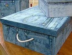 <h1>Cajas recicladas con motivo de jean, muy facil</h1> : VCTRY's BLOG