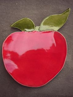 Ceramic Apple Dish Red Fruit Plate Spoon Rest  by Ceraminic