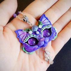 Purple Purrmaid  OOAK kitty cat necklace handmade polymer clay pendant by FleurDeLapin