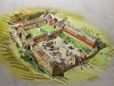 An artists impression of how Chedworth Roman Villa looked c. AD 350