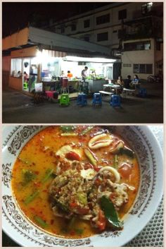 Restaurante de noche y Tom Yam, sopa con vegetales, carne y marisco. Muy picante // Dinners restaurant and Tom Yam. Very spicy soup with vegetables, meat and seafood.