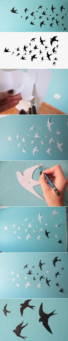 Are you bored of that simple paint on the wall? Do you want to add something special to the bedroom, even the living? Why don't you paint some swallows?-- or on a white wall, and add bright colored birds!