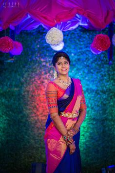 A Colourful South Indian Engagement That Took Place In The Bride's Beautiful House South Indian Wedding Saree, South Indian Weddings, Indian Bridal Wear, South Indian Bride, Saree Wedding, Bridal Sarees, Wedding Album, Engagement Saree, Indian Engagement