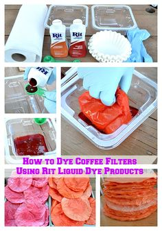 How to Dye Coffee Filters Using Rit Liquid Dye Products #coffeefilters #crafts #RitDye #DIY