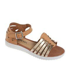 Beige Metallic Ankle-Strap Sandal