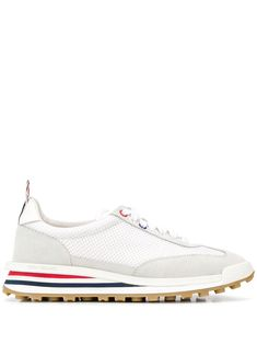 $630.0. THOM BROWNE Sneaker Tech Runner Low-Top Sneakers #thombrowne #sneaker #sport #activewear #suede #shoes Thom Browne, Calf Leather, Cole Haan, Calves, Oxford Shoes, Dress Shoes, Lace Up, Running, Sneakers