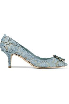 Heel measures approximately 60mm/ 2.5 inches Light-blue lace Slip on Made in Italy