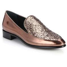 Prada Glitter Metallic Leather Loafers ($675) ❤ liked on Polyvore featuring shoes, loafers, apparel & accessories, copper, glitter shoes, leather slip on shoes, glitter loafers, prada and loafer shoes