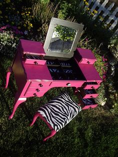 A Brush of Whimsy: Hot Pink Vanity. Not the zebra, but the pink vanity. My New Room, My Room, Pink Vanity, Pink Zebra, Teal, Pink Room, Little Girl Rooms, Girls Bedroom, Bedroom Ideas