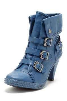 Blue buckle up boots