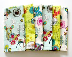Cloth Napkins - Set of 6 - Large Dinner Table Napkins - Mismatched, Assorted, Variety - Teal Yellow White Green Woodland Deer Trees by ClearSkyHome on Etsy https://www.etsy.com/listing/227596178/cloth-napkins-set-of-6-large-dinner