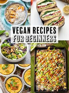 Here's a helpful list of vegan recipes for beginners, so that you can dip your t. Here's a helpful list of vegan recipes for beginners, so that you can dip your toes in for a test. I made sure they're convenient and delicious, for you! Vegan Recipes Beginner, Vegan Recipes Videos, Vegan Dinner Recipes, Vegan Dinners, Whole Food Recipes, Healthy Recipes, Simple Vegan Meals, Easy Recipes, Free Recipes