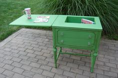 Sewing Machine Table Repurposed as Storage accent table.  Painted in Annie Sloan Chalk Paint in Antibes!