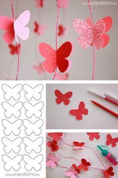 """Os dejamos un vídeo tutorial de cómo hacer paso a paso una """"Guirnalda de Mariposas 3D de Papel."""" Una idea sencilla! pero original, colorida y vistosa…ideal para decorar el fondo de una mesa dulce o para complementar otros elementos decorativos d"""