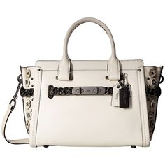 COACH Willow Floral Detail Swagger 27 (DK/Chalk) Handbags ($595) ❤ liked on Polyvore featuring bags, handbags, pocket purse, military handbags, coach purses, floral print handbags and white purse