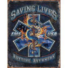 EMS Saving Lives TIN SIGN star of life paramedic gift wall art metal poster 2147 Paramedic Quotes, Paramedic Gifts, Emergency Medical Services, Emergency Response, Pub Signs, Wall Signs, Air Force Gifts, Patriotic Pictures, Life Logo