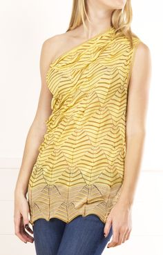 Missoni Yellow/Brown Off-shoulder Knit Top