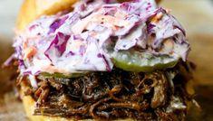 Slow Cooker Dr. Pepper Pulled Pork Sandwich – Modern Honey Bbq Beef Sandwiches, Bbq Sandwich, Slow Cooker Bbq Beef, Slow Cooked Beef, Texas Bbq Sauce, Pork Shoulder Roast, Creamy Coleslaw, Homemade Bbq, Whole Food Recipes