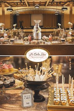 I loved styling this dessert table for a wonderful wedding couple getting married at The Prado at Balboa Park in San Diego. The theme was Roaring Twenties / Great Gatsby with mixed metallics (gold, silver) and black.  The dessert table included cupcakes, cake pops, macarons, rock candy, cookies, all matching the theme. The cake was an exact replica of the Stanley Cup because the groom is an avid hockey fan and player. The gold sequin linen finished the glam look.