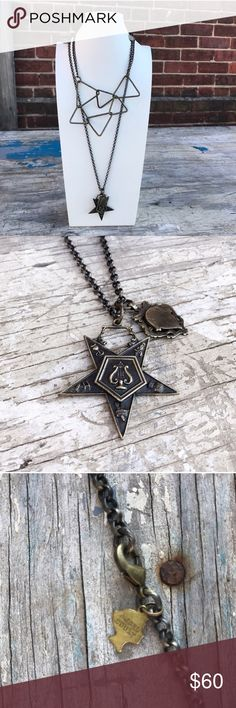 """AngelCourt Vintage Brass Lyre Star Necklace New without tags. 30"""" length.    🚫TRADES 💚BUNDLES - 20% off 2+ listings Anthropologie Jewelry Necklaces"""