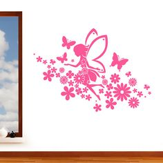 Flying Fairy with Flowers & Butterfly Girls Wall Sticker - Childrens Art Decal Vinyl Transfer - by Rubybloom Designs