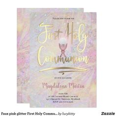 Faux pink glitter First Holy Communion Invitation