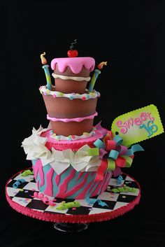 Sweet 16 cake for Cake Central Magazine by Andrea's SweetCakes,