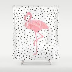 Buy Shower Curtains featuring Flamingo Art print, Pink, Glam, Dalmatian, Tropical, Nursery, Living Room by PeachAndGold. Made from 100% easy care polyester our designer shower curtains are printed in the USA and feature a 12 button-hole top for simple hanging.