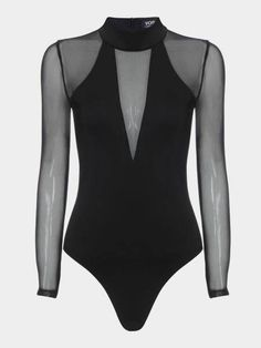 Sexy See-through Long Sleeves Bodysuit - -YOINS-mobile Dance Outfits, Cute Outfits, Pullover Shirt, Summer Outfits For Teens, Moda Casual, Long Sleeve Bodysuit, Black Bodysuit, See Through, Fitted Bodice