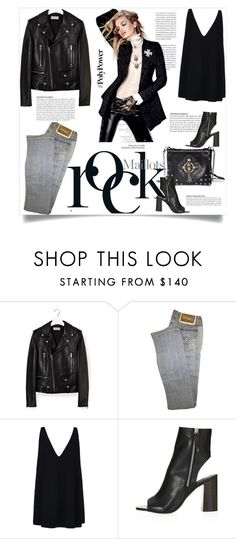 """""""What's Your Power Outfit?"""" by sofirose ❤ liked on Polyvore featuring Yves Saint Laurent, Marc, Versace, STELLA McCARTNEY, Topshop, rock, topset and PolyPower"""