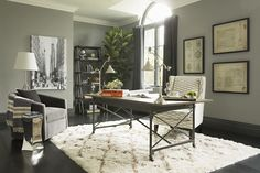 Jeff Lewis Design flock of Geese paint color. Jeff Lewis Design, Decor, Rectangle Dining Table, Home Office Design, Home Office Decor, Furniture, Home Office Furniture Design, Home Theater Design, Interior Design