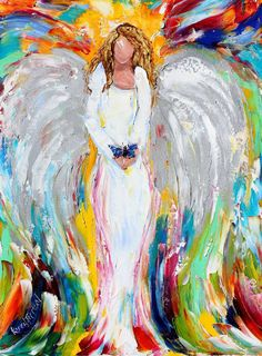 Original oil painting Angel and Butterfly palette by Karensfineart