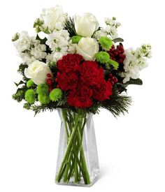 Surprise a loved on with these gorgeous holiday blooms! The Winter Wonders Bouquet comes with winter white roses, berry red carnations and green button pompoms!