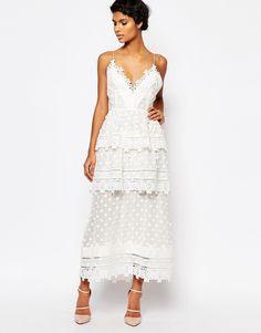 b65ed48f89582 self portrait Asos White Dress, Asos Dress, Lace Midi Dress, White Lace Gown