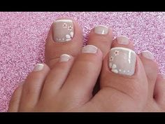 DECORAÇÃO PARA UNHAS DOS PÉS - YouTube Pedicure Nail Art, Toe Nail Art, Wedding Pedicure, Summer Toe Nails, Pedicure Summer, Nail Art Videos, Feet Nails, Diy Nail Designs, Fabulous Nails