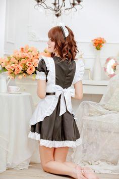 Black Sweet Short Sleeves Strapless French Maid Uniform - French Maid Costumes - Costumes Cosplay Wigs, Cosplay Costumes, Maid Costumes, French Maid Uniform, French Maid Costume, Zentai Suit, Maid Dress, White Strips, Lolita Dress
